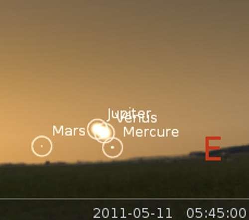 Vénus et Mercure en rapprochement avec Jupiter