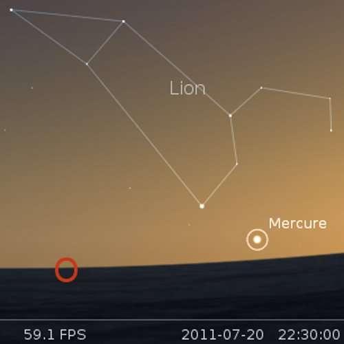 Élongation maximale de Mercure à l'est du Soleil