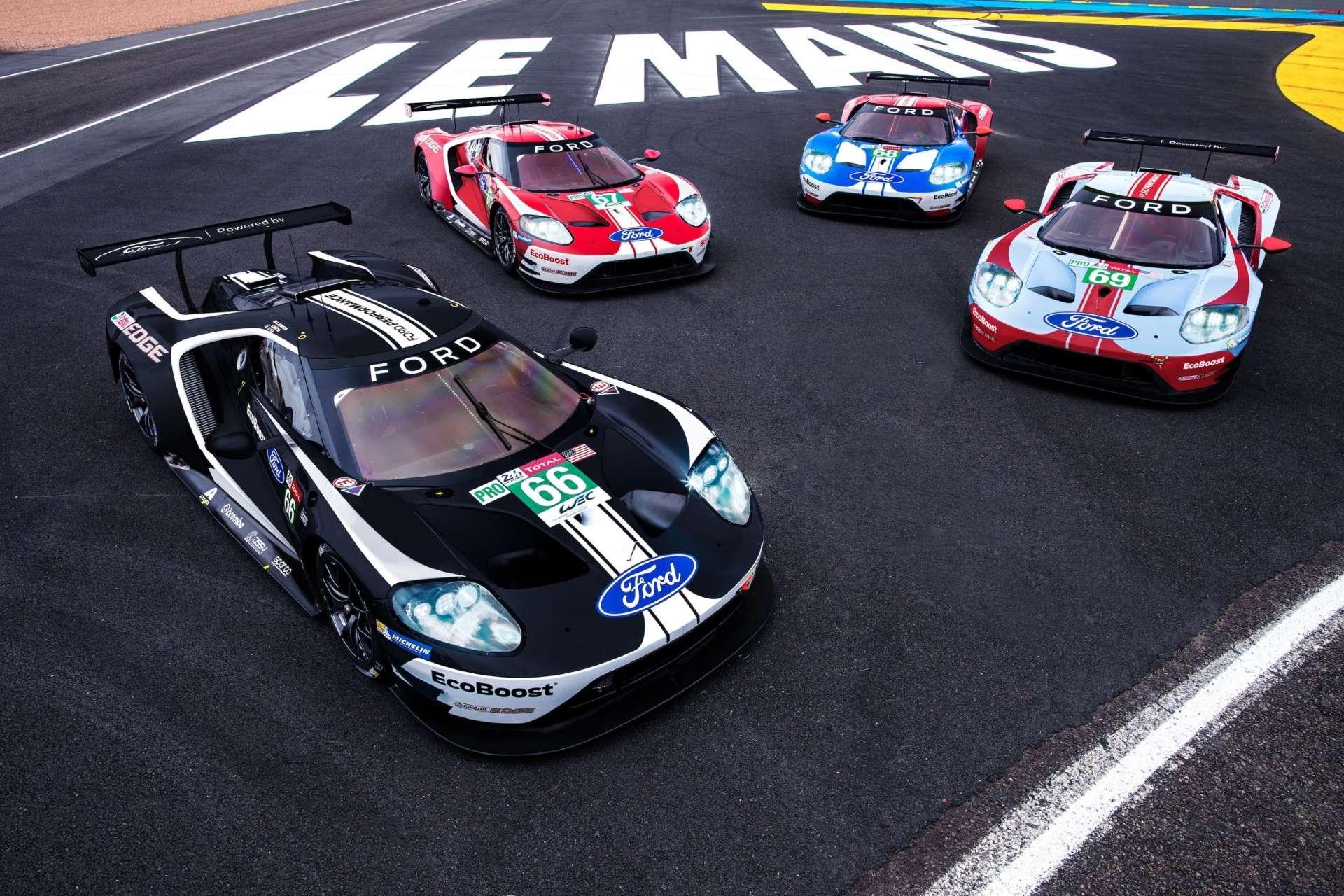 Les quatre Ford GTE Pro engagées aux 24 Heures du Mans 2019. © Courtesy of Ford