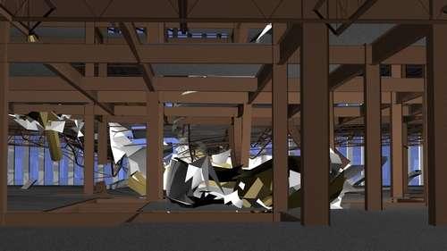 Entièrement modélisée, la pénétration de l'avion dans le bâtiment a ensuite pu être visualisée et, surtout, étudiée de près. Crédit : Purdue University image/Voicu Popescu
