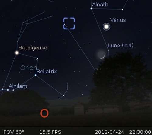 La Lune en rapprochement avec Vénus et la nébuleuse du Crabe