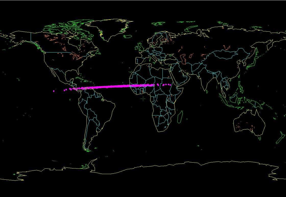 La première estimation de la zone d'impact possible de 2014 AA, le premier astéroïde de 2014. Ce modeste objet a pu être détecté la veille de la collision. Le point d'entrée dans l'atmosphère a pu être déterminé grâce aux enregistrements continus d'infrasons (pour repérer d'éventuels essais nucléaires atmosphériques) : il se situe pile au milieu de cette zone. © Bill Gray
