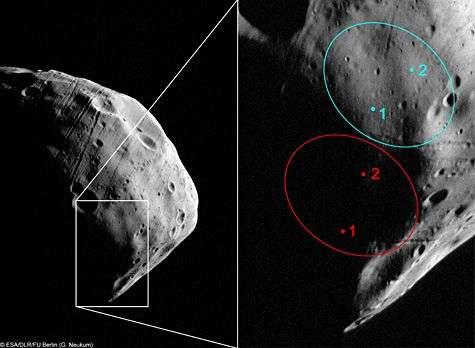 Cette image obtenue par Mars Express le 23 juillet 2008 (orbite 5851) montre les sites d'atterrissage anciennement pressentis (en rouge) pour Phobos-Grunt et actuellement prévus (en bleu), après les nouvelles données acquises par la sonde européenne. Crédit Esa/DLR/FU Berlin (G. Neukum)