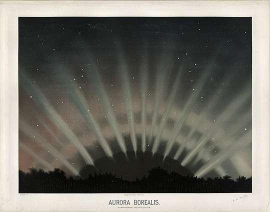 Dessin d'une aurore boréale en forme d'éventail aux couleurs rouges et blanches observée en 1872 par le peintre et astronome américain Étienne Léopold Trouvelot. © Étienne Léopold Trouvelot (The New York Public Library Digital Collections)