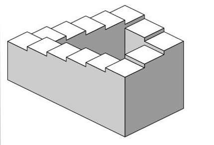 L'escalier de Penrose, un escalier triangulaire à angle droit qui semble monter à l'infini dans une boucle où haut et bas se rejoignent. © Domaine public