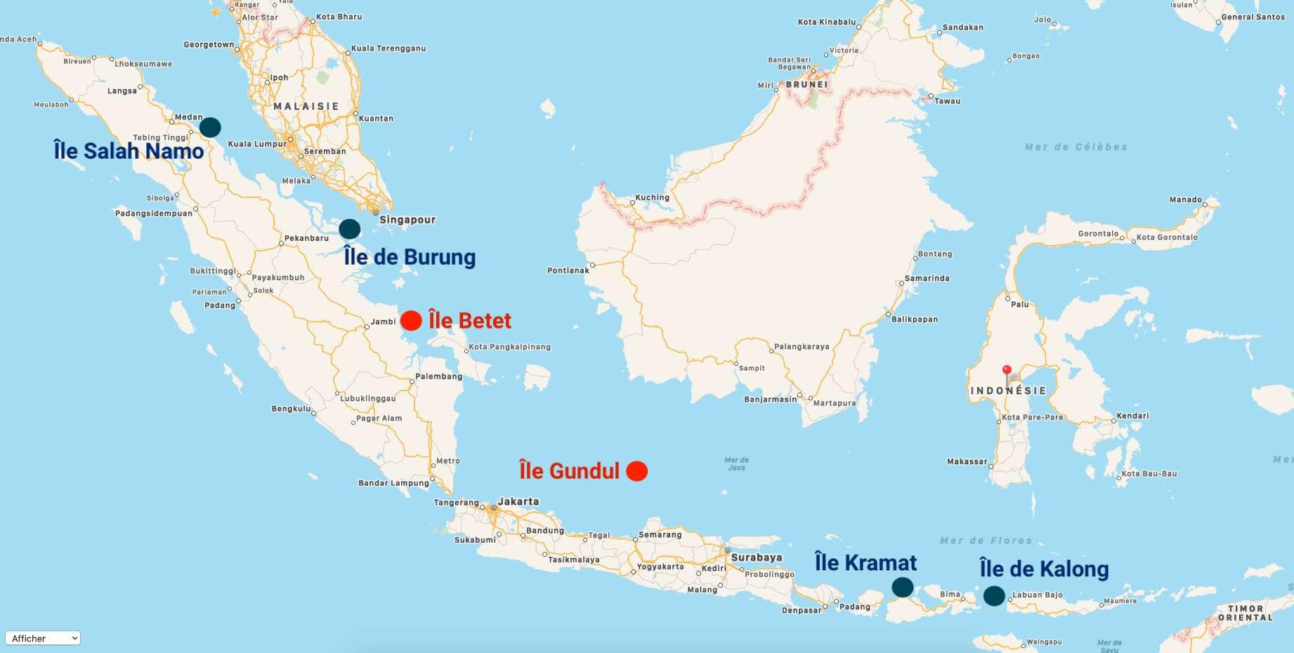 En rouge, les îles indonésiennes déjà disparues. En bleu, les îles menacées de disparition. © C.D, Plans