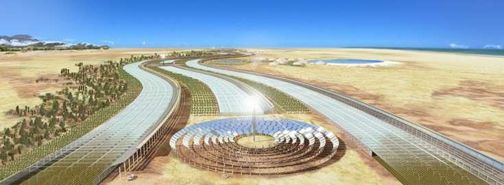 Le projet de développement à grande échelle des oasis artificielles créera des ceintures vertes le long des côtes. Les serres à eau de mer fournissent l'eau à la centrale solaire à concentration, aux cultures et à la végétation qui pousse en extérieur sous le vent. © Sahara Forest Project