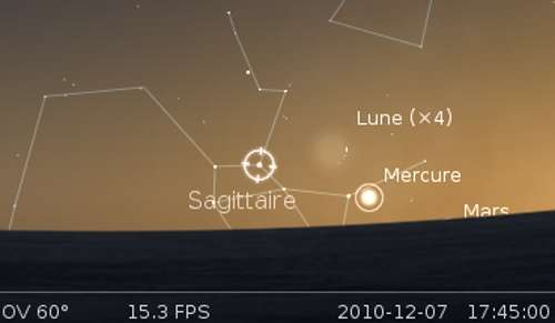 La Lune en rapprochement avec Mercure et l'étoile Nunki