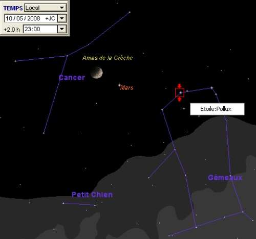 La Lune est en rapprochement avec l'amas de la Crèche, la planète Mars et l'étoile Pollux