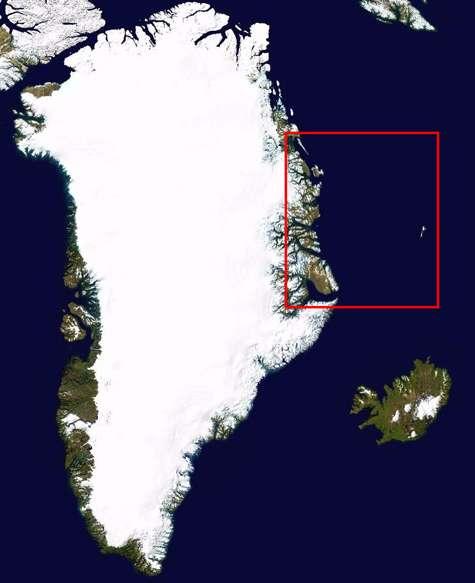 Figure 2. Le cadre rouge indique la zone photographiée. Iconographie Futura-Sciences sur une image Nasa