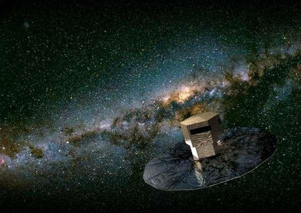 Gaia cartographiant les étoiles de la Voie lactée, vue d'artiste. Crédits Medialab-Cnes