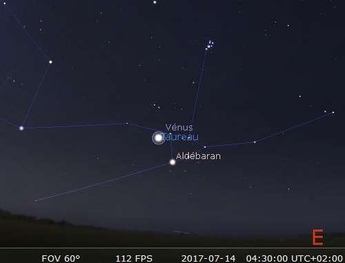 Vénus en rapprochement avec Aldébaran