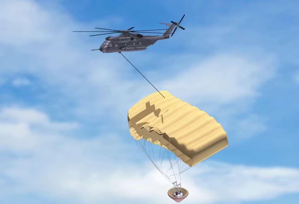 La récupération de la partie basse du lanceur Vulcan d'ULA se fera à l'aide d'un hélicoptère qui l'attrapera en plein vol ! Une manœuvre inspirée des opérations militaires réalisées par l'armée américaine durant la Guerre froide. © ULA (capture vidéo)