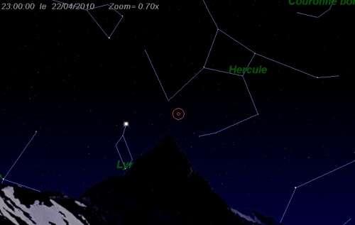 Le 22/04/2010 à 21:00 TU - Maximum de l'essaim météoritique des Lyrides