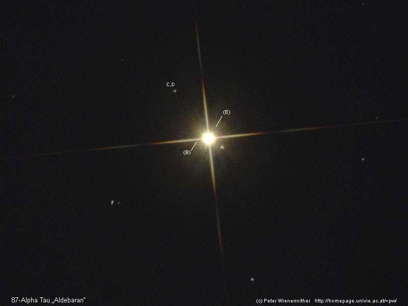 Aldébaran et quelques-uns de ses compagnons stellaires. Crédit P. Wienerroither