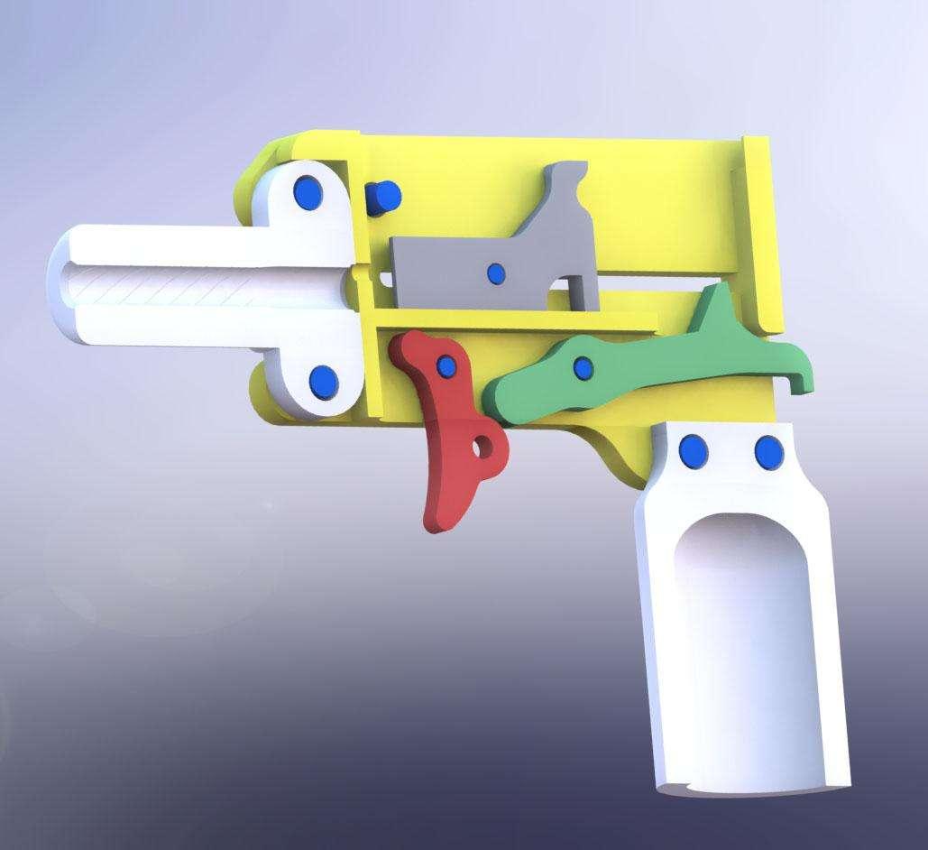 Le canon et la crosse à moitié imprimés, un pistolet de calibre 22 à un seul coup. Lui aussi est téléchargeable... © Defense Distributed