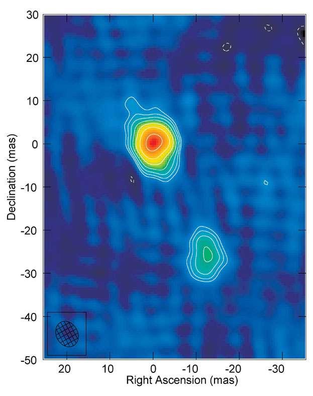 Le quasar J1427+3312 en ondes radio. Crédit : Jive