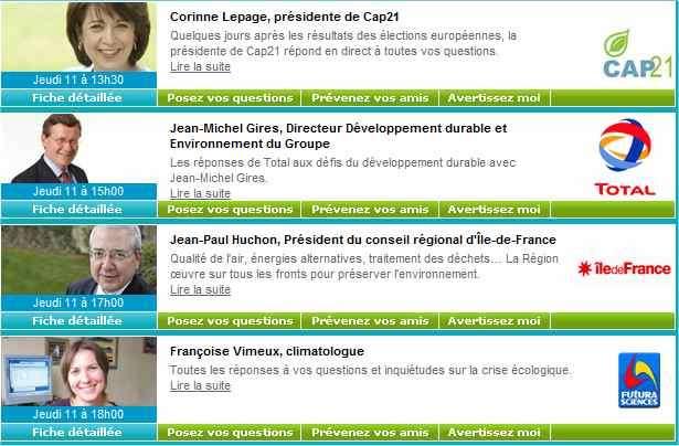 Corine Lepage (Cap 21), Jean-Michel Gires (Total), Jean-Paul Huchon (Conseil régional d'Ile-de-France), Françoise Vimeux (climatologue) attendent vos questions...