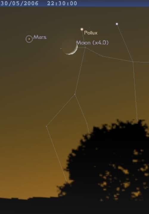 La lune est encadré par la planète Mars et l'étoile Pollux