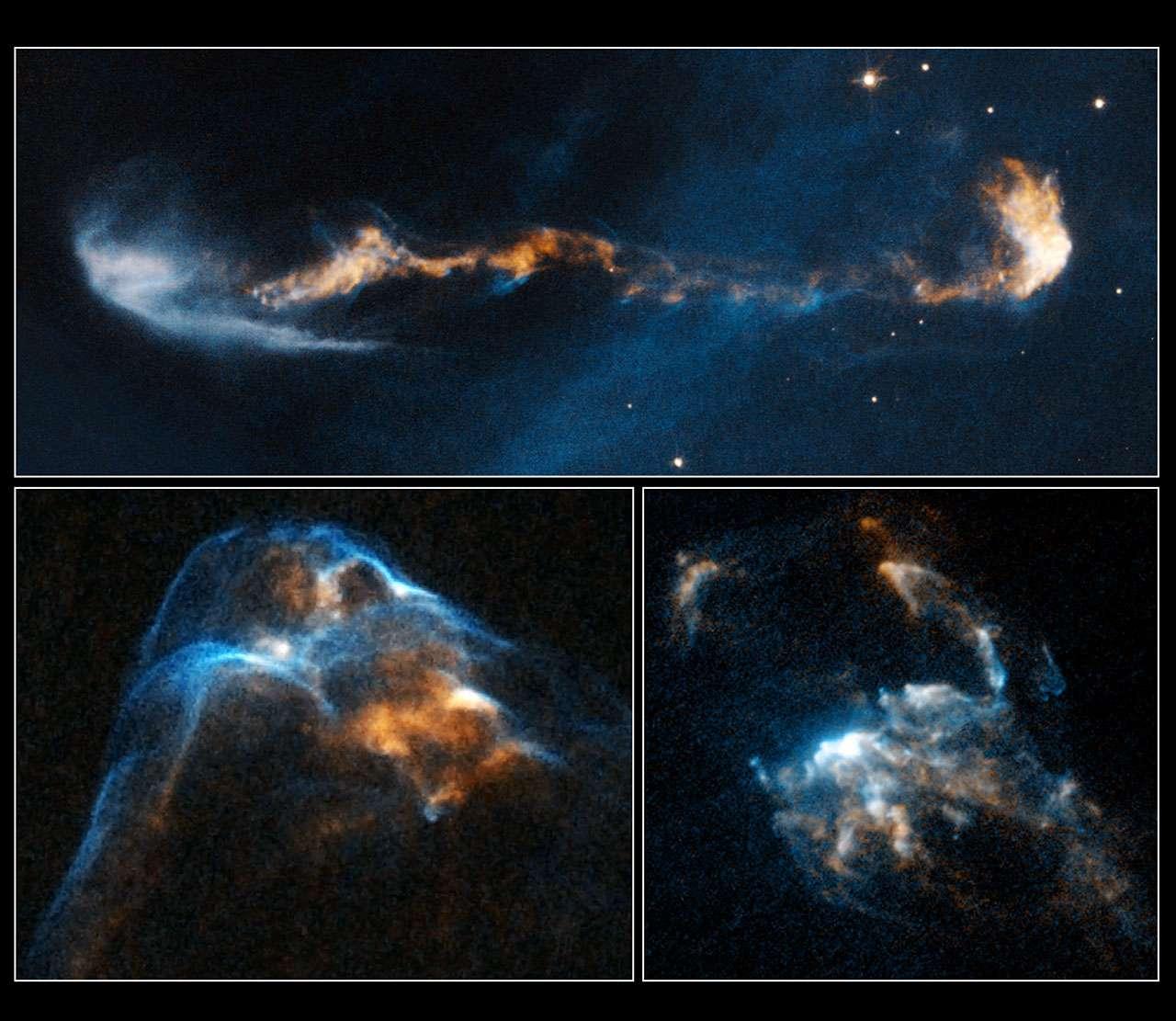 Plusieurs images d'objets de Herbig-Haro vus par Hubble. De haut en bas et de gauche à droite HH 47, HH 34 et HH 2. © Nasa, Esa, P. Hartigan (Rice University)