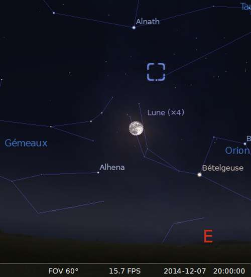 La lune en rapprochement avec la nébuleuse du Crabe et Alnath