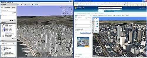 A ma gauche, Google Earth. A ma droite, Virtual Earth...