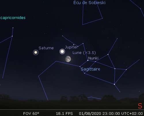 La Lune en rapprochement avec Jupiter et Nunki