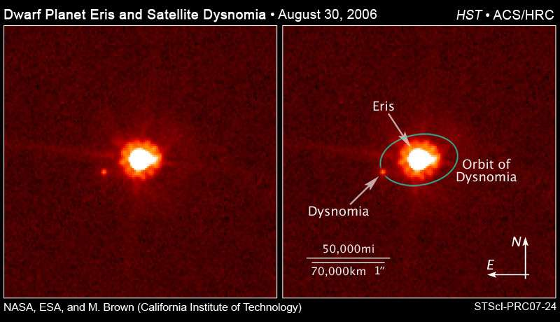 Eris et Dysnomia. Crédit NASA.