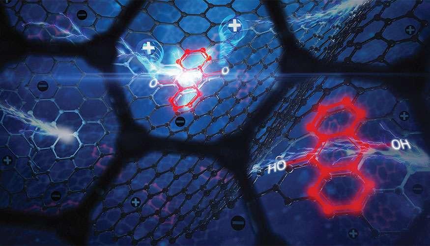 Des aérogels à base de graphène sont prometteurs pour le stockage d'énergie électrique. Cette image d'artiste montre la structure en nid d'abeille du graphène sur laquelle sont ajoutées des molécules dans le cas des aérogels étudiés par des chercheurs du laboratoire Lawrence Livermore aux États-Unis. © Ryan Chen.