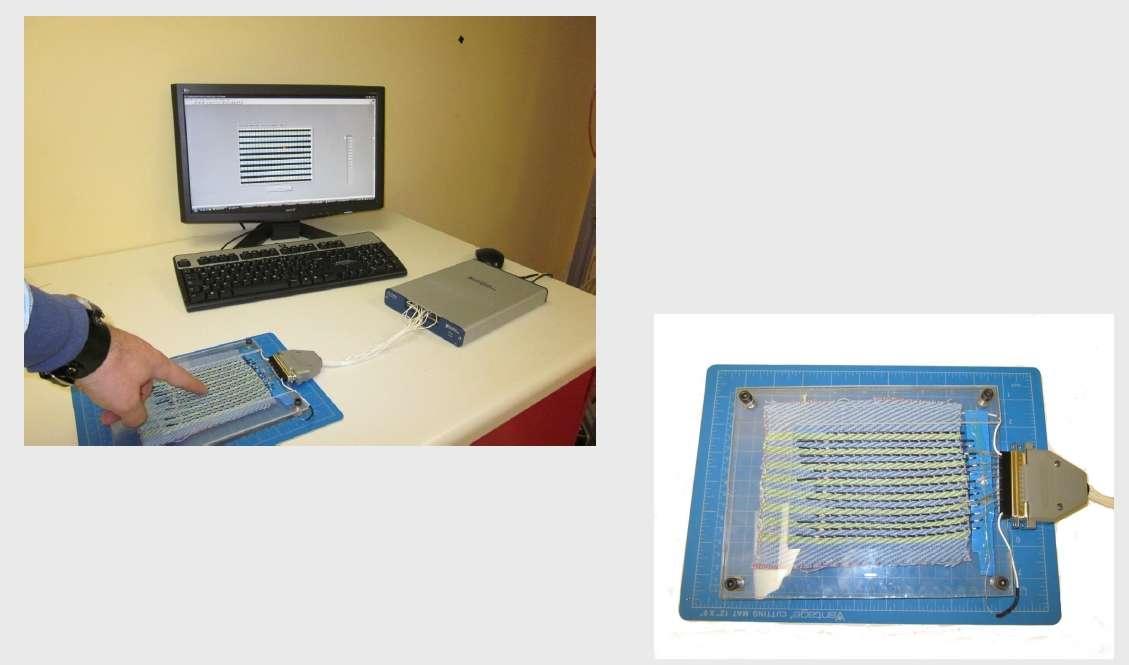 Encore très artisanal, le textile mis au point par les équipes de Maksim Skorobogatiy à l'école polytechnique de Montréal remplace un écran tactile ou un touchpad. © M. Skorobogatiy / Ecole Polytechnique Montréal