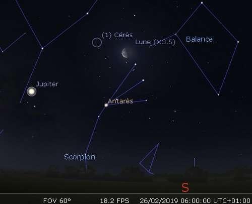 La Lune en rapprochement avec Cérès et Antarès