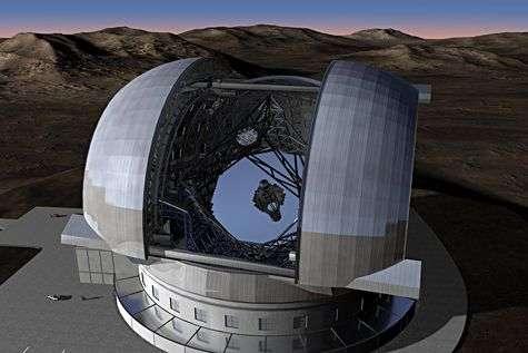 L'immense EELT, équipé d'un miroir primaire segmenté de 42 mètres de diamètre abrité sous une coupole de 90 mètres. Crédit ESO