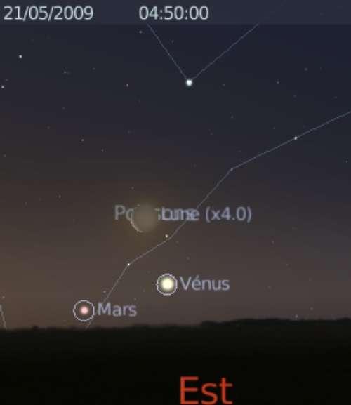 La Lune est en rapprochement avec les planètes Vénus et Mars