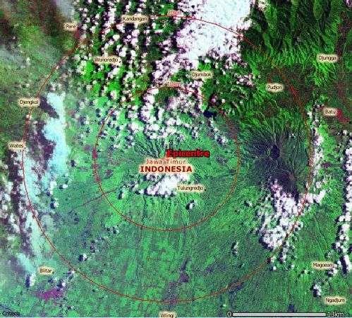 Vue satellite de la région. Crédit Nasa - European Commission Joint Research Centre Digital Atlas