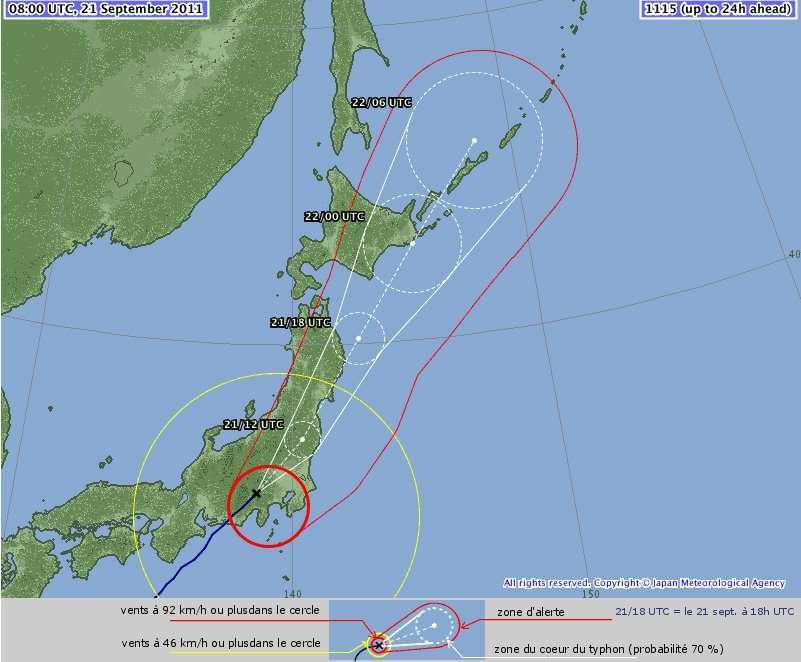 Le typhon Roke a atteint les côtes japonaises. L'Agence météo japonaise prévoit qu'il survolera les provinces de Fukushima et Tokyo.© Japan Meteorological Agency, adaptation Futura-Sciences