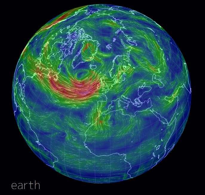 Sur le site internet Earth, on peut étudier la répartition des vents, comme dans le système dépressionnaire qui menace actuellement la France. © Capture d'écran, http://earth.nullschool.net/