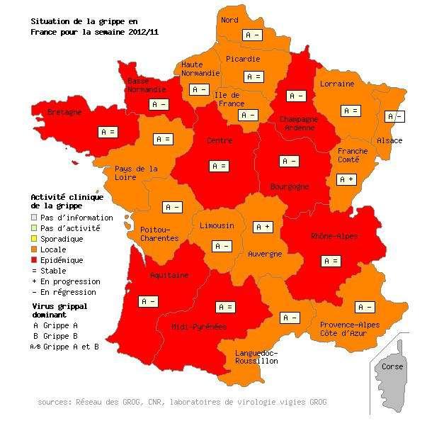 Encore un peu de patience et l'épidémie de grippe devrait passer. Mis à part en Franche-Comté où l'incidence est plus forte, dans les autres régions de France, la situation s'est stabilisée ou a reculé. © Grog