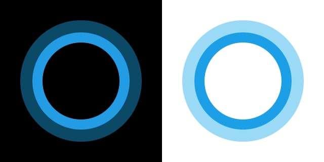 L'assistant vocal Cortana de Microsoft est symbolisé par ce cercle bleu animé. © Microsoft Devin Cook, domaine public, via Wikimedia Commons