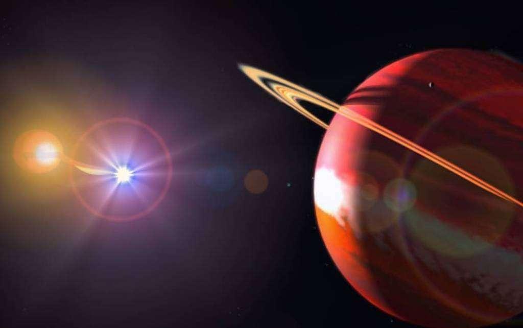 Une vue d'artiste d'une des exoplanètes orbitant peut-être autour de UZ Fornacis. On voit représentée la matière arrachée à la naine rouge par la naine blanche. © SAAO 2011