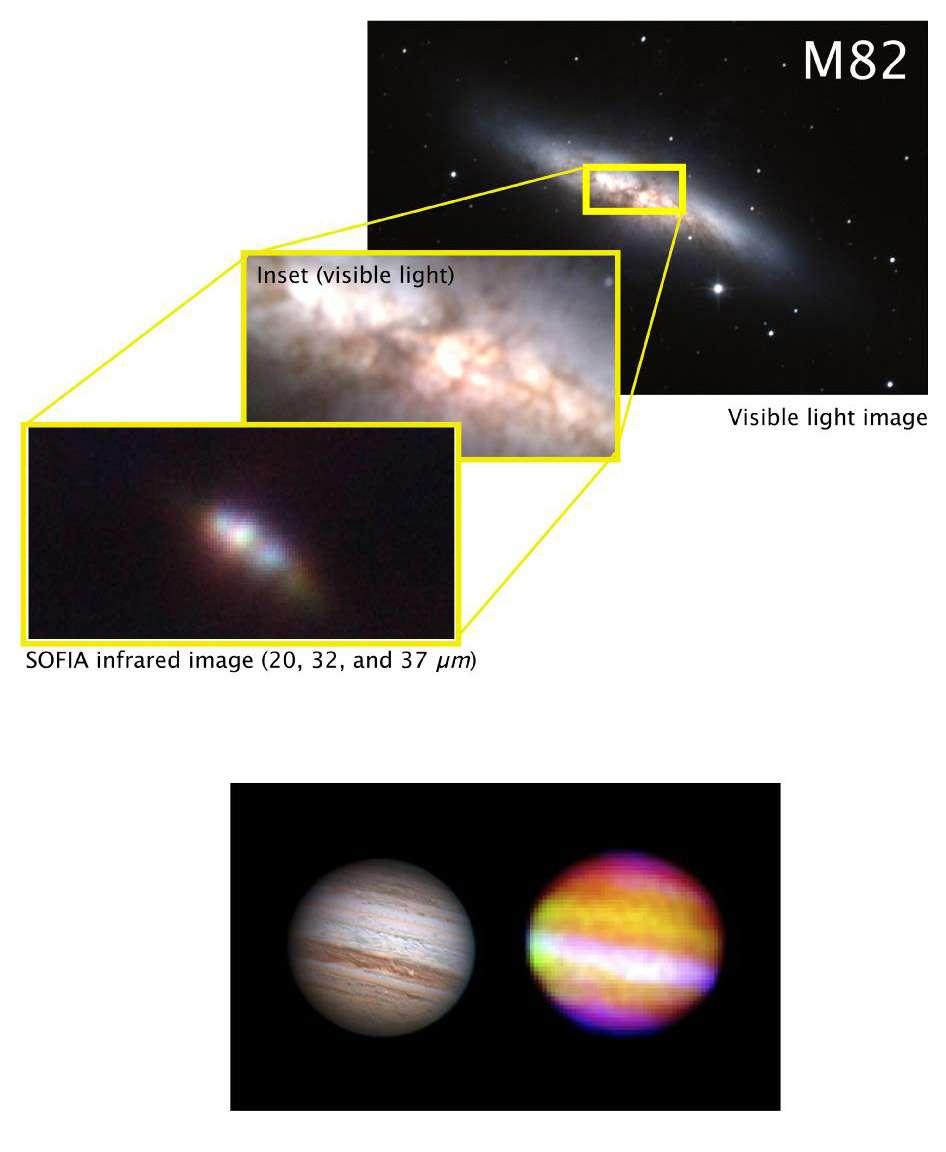 Ces premières images acquises par Sofia confirment l'utilité d'utiliser au télescope aéroporté pour sonder l'Univers infrarouge. Crédits Nasa / Sofia Science Team