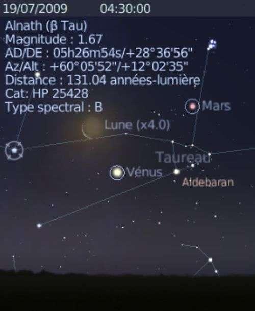 La Lune est en rapprochement avec la planète Vénus, et les étoiles Aldébran et Alnath
