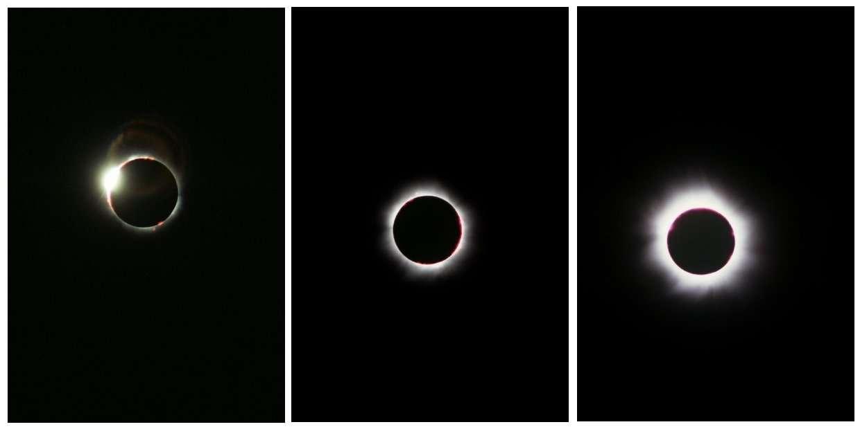Trois images de l'éclipse du 11 août 1999. © Jean-Baptiste Feldmann