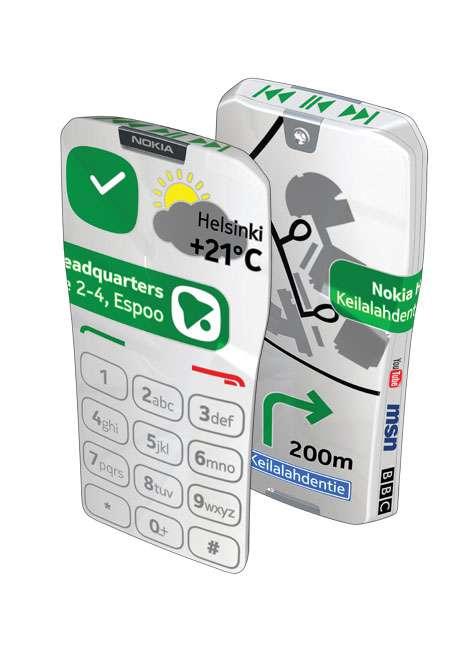L'aspect du mobile s'adapte à l'utilisation grâce à son écran tactile étalé sur toute sa surface : c'est l'idée du GEM de Nokia... que l'on ne sait probablement pas encore réaliser. © Nokia Research