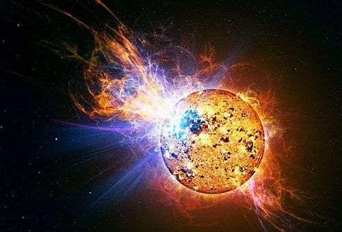Flare stellaire (vue d'artiste). Crédit Nasa
