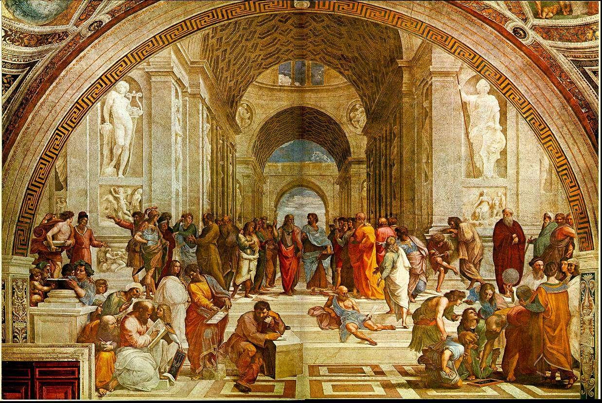 L'école d'Athènes, par Raphaël. Ce tableau représente plusieurs des grands penseurs de l'antiquité. Au centre, illustrant le débat millénaire entre la théorie et l'expérience, Platon discute avec Aristote. Platon a été représenté avec les traits de Léonard de Vinci.