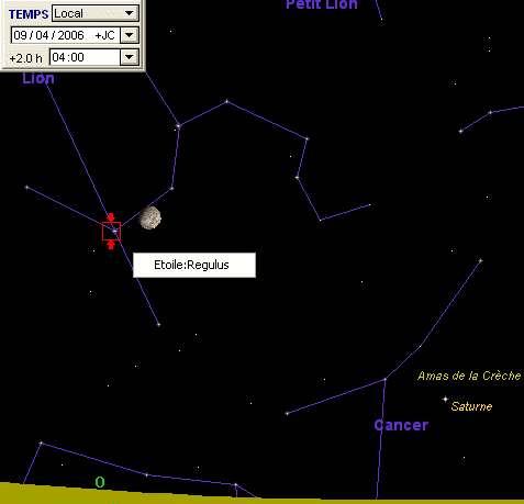 La Lune passe à proximité de l'étoile Régulus