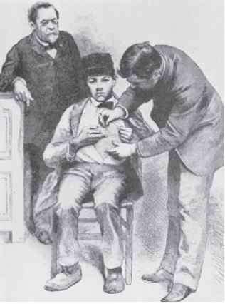 Louis Pasteur inoculant un vaccin contre la rage au jeune Alsacien Joseph Meister en juillet 1885, l'enfant venant d'être mordu par un chien enragé. Ce geste est considéré comme la première vaccination d'un être humain. © Domaine public