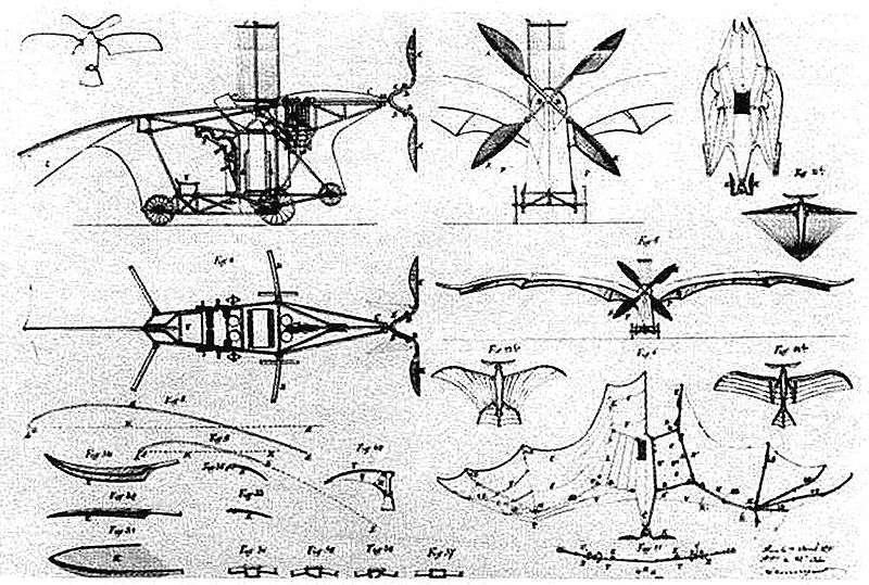 Clément Ader, passionné d'aviation, réalise d'abord l'Éole, une machine fortement inspirée de la chauve-souris. © Domaine public