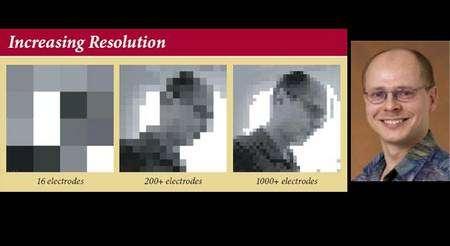 Simulation d'une image selon le nombre d'électrodes implantées. Elle montre Wolfgang Fink, du Caltech, impliqué dans un programme destiné à améliorer les performances des prothèses Argus. © California Institute of Technology