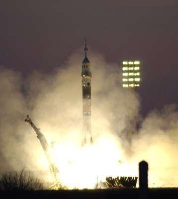 Décollage pour la mission Enéide vers l'ISS de Baïkonour.